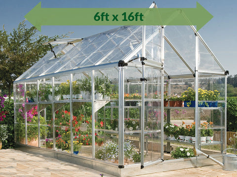 Image of Palram 6ft x 16ft Snap & Grow Hobby Greenhouse - Full image with green arrow on top