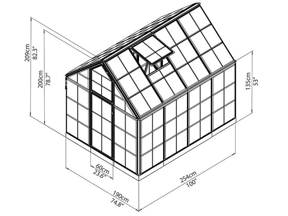 Palram 6ft x 8ft Snap & Grow Hobby Greenhouse - framework with dimensions