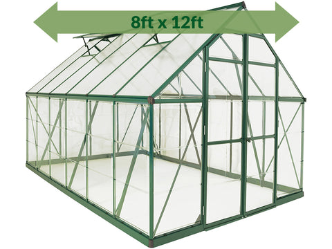 Palram 8ft x 12ft Balance Hobby Greenhouse - HG6112G - with green arrow on the upper part - white background