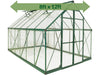 Image of Palram 8ft x 12ft Balance Hobby Greenhouse - HG6112G - with green arrow on the upper part - white background