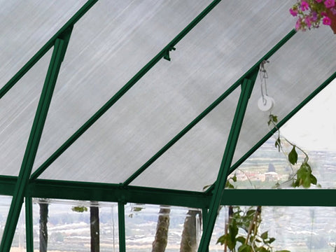 Palram 8ft x 12ft Balance Hobby Greenhouse - HG6112G - showing the roof - view form the inside