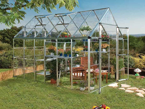 Image of Palram 8ft x 12ft Snap & Grow Hobby Greenhouse - HG8012 - full view - in the garden
