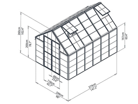 Palram 8ft x 12ft Snap & Grow Hobby Greenhouse - HG8012 - framework