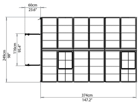 Image of Palram 8ft x 12ft Snap & Grow Hobby Greenhouse - HG8012 - top view framework
