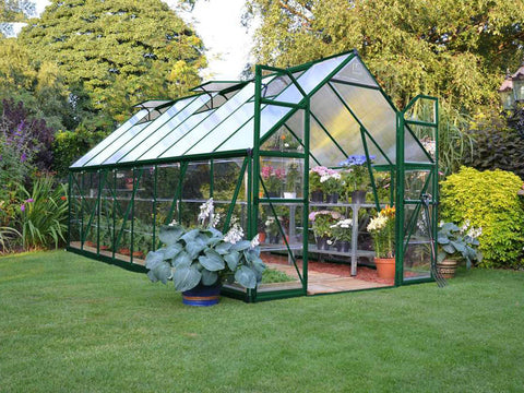 Palram 8ft x 16ft Balance Hobby Greenhouse - HG6116G - full view - in a garden