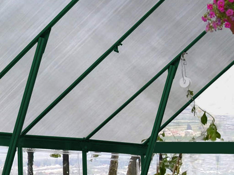 Palram 8ft x 8ft Balance Hobby Greenhouse - HG6108G - polycarbonate panel - interior view