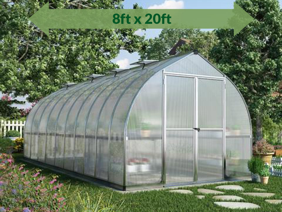 Palram Bella Silver 8ft x 20ft Hobby Greenhouse HG5420 - full view - with green arrow on top - in a garden