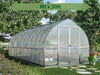 Image of Palram Bella Silver 8ft x 20ft Hobby Greenhouse HG5420 - full view - with green arrow on top - in a garden