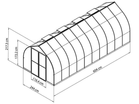 Palram Bella Silver 8ft x 20ft Hobby Greenhouse HG5420 - full view of framework with dimensions