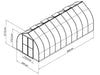 Image of Palram Bella Silver 8ft x 20ft Hobby Greenhouse HG5420 - full view of framework with dimensions
