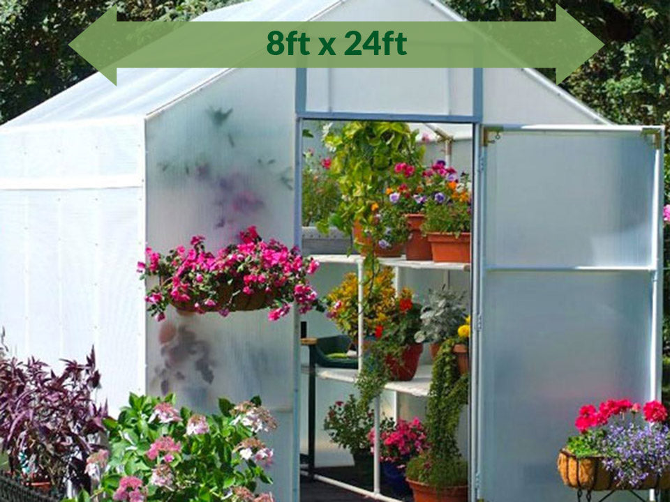 Solexx 8ft x 24ft Garden Master Greenhouse G-524 - view with green arrow on top showing dimensions with plants and flowers in and out of the greenhouse