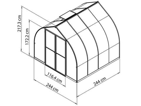 Image of Palram Bella Silver 8ft x 8ft Hobby Greenhouse HG5408 - full view - framework with dimensions