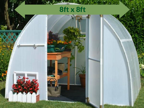 Image of Solexx  8ft x 8ft Early Bloomer Greenhouse G-108 - front view - open door with plants and flowers