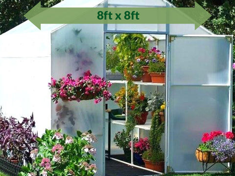 Solexx  8ft x 8ft Garden Master Greenhouse G-508 - front view - with plants and flowers - green arrow on top showing dimensions
