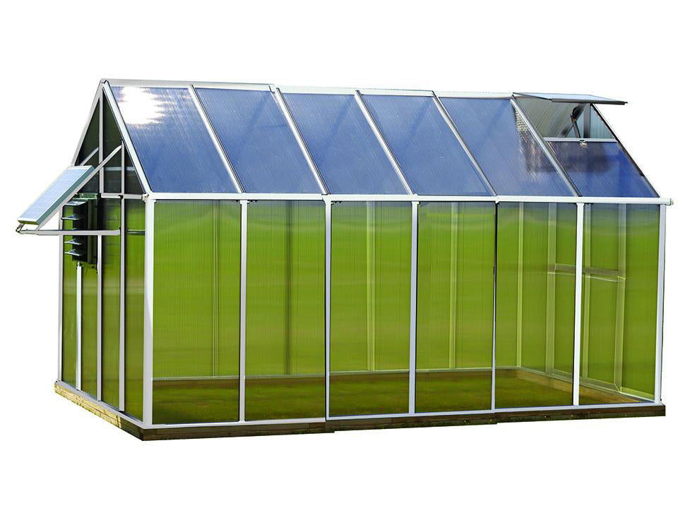 Aluminum Riverstone Monticello Greenhouse 8x12 - Mojave Package - white background