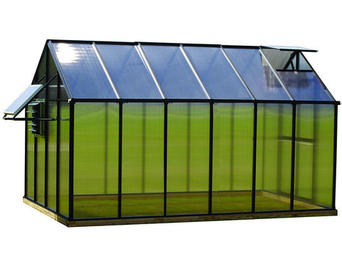 Image of Black Riverstone Monticello Greenhouse 8x12 - Mojave Package - white background