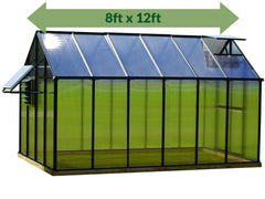 Riverstone Monticello Greenhouse 8x12 - Mojave Package - full view - green arrow on top showing dimensions - white background