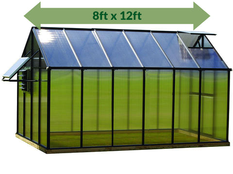 Image of Riverstone Monticello Greenhouse 8x12 - Mojave Package - full view - green arrow on top showing dimensions - white background