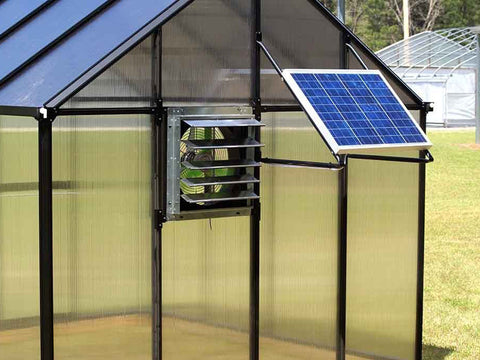 Empty Riverstone Monticello Greenhouse 8x12 - Mojave Package - solar ventilation system