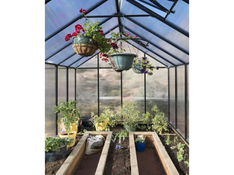 Image of Riverstone Monticello Greenhouse 8x16 - Mojave Package - interior view - with plants and flowers