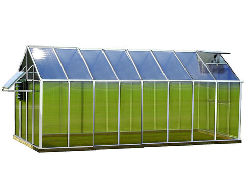 Aluminum Riverstone Monticello Greenhouse 8x16 - Mojave Package - full view  - white background