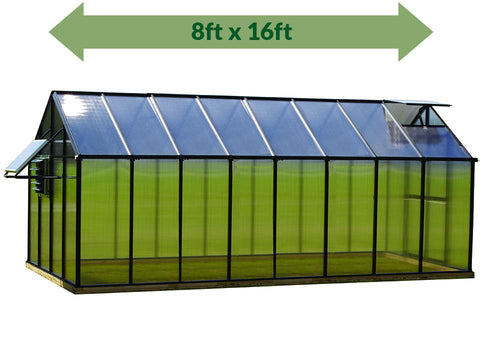 Image of Riverstone Monticello Greenhouse 8x16 - Mojave Package - full view - green arrow on top showing dimensions - white background
