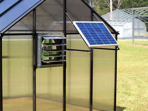 Riverstone Monticello Greenhouse 8x16 - Mojave Package - installed solar ventilation system