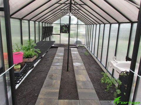 Image of Riverstone Monticello Greenhouse 8x16 - Mojave Package - interior view with a few plants