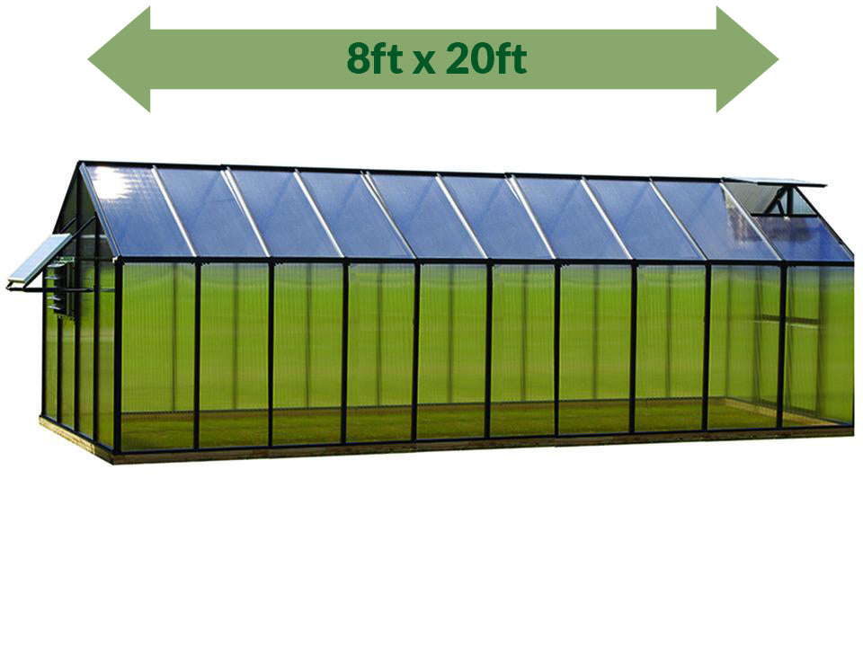 Riverstone Monticello Greenhouse 8x20 - Mojave Package - full view - green arrow on top showing dimensions - white background
