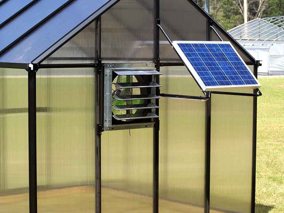 Riverstone Monticello Greenhouse 8x20 - Mojave Package - installed solar ventilation system
