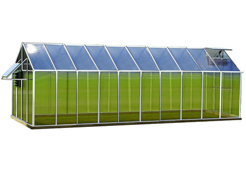 Image of Riverstone Monticello Greenhouse 8x20 - Mojave Package - aluminum - side view - white background