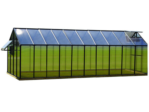 Image of Black - Riverstone Monticello Greenhouse 8x20 - Mojave Package - side view - white background