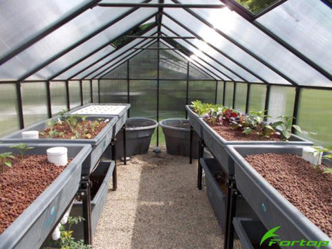 Image of Riverstone Monticello Greenhouse 8x20 - Premium Package - interior view with seedlings and accessories