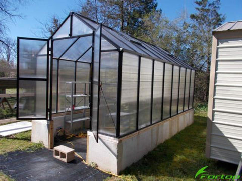 Bare Riverstone Monticello Greenhouse 8x20 - Premium Package - open doors