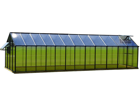 Image of Black Riverstone Monticello Greenhouse 8x24 - Mojave Package - full view - white background
