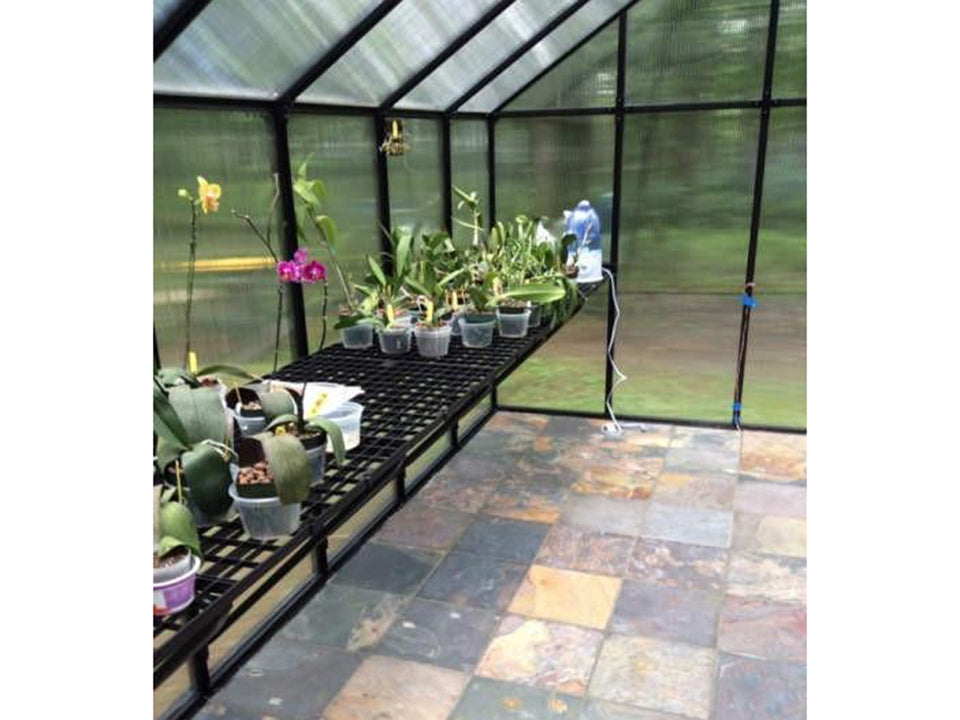 Riverstone Monticello Greenhouse 8x8 - Premium Package - interior view with installed workbench on the left side