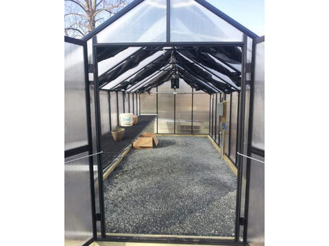 Riverstone Monticello Greenhouse 8x8 - Premium Package - open doors - front view
