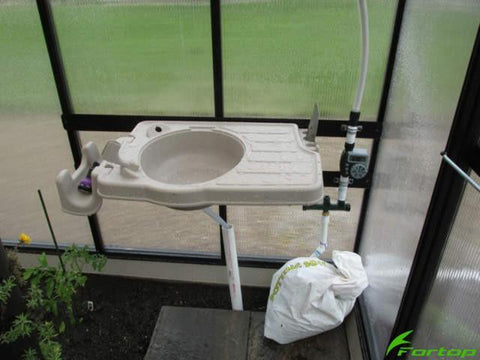 Image of Riverstone Monticello Greenhouse 8x8 - Premium Package with installed potting sink