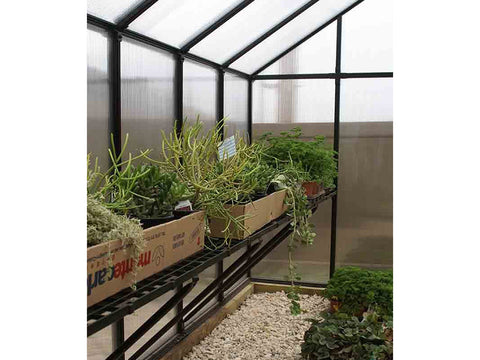 Riverstone Monticello Greenhouse 8x8 - Premium Package - interior side view with plants