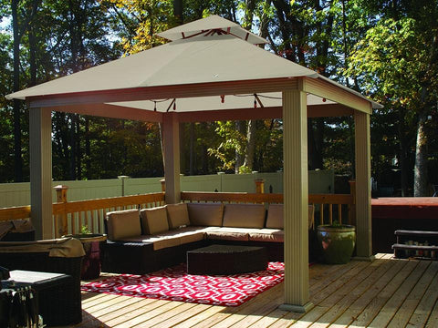 Image of Antique Beige Acacia Gazebo with Outdura Canopy 12ft x 12ft