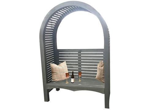 The Adelaide Dove Gray Arbor With Bench and Pillows - white background