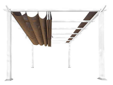 Florence White Aluminum Pergola with a Cocoa Color Convertible Canopy Top