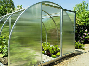 Front view of Arcus 4 Greenhouse with doors fully open