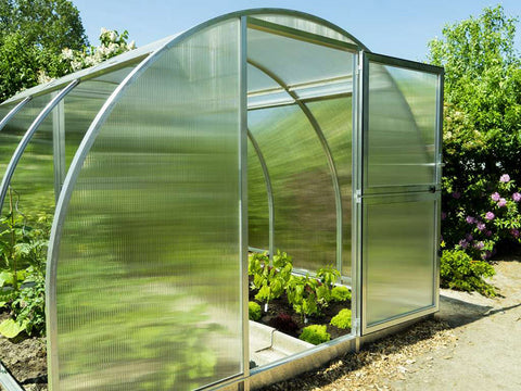 Image of Front view of Arcus 4 Greenhouse with doors fully open