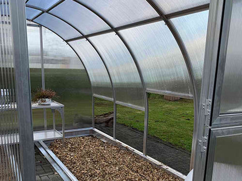 Image of Arcus 4 Greenhouse 10x13 - Open door - Front view showing the right interior