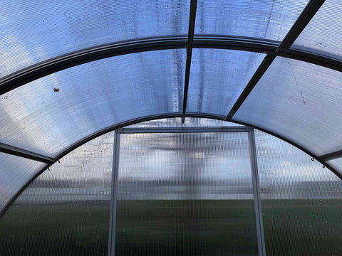 Interior roof view of Arcus greenhouse