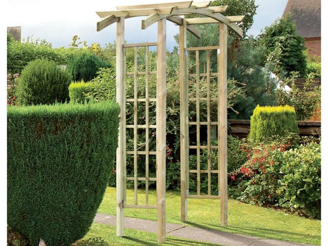 Natural Athena Wooden Garden Arbor in a garden