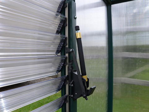 Installed Automatic Louver Window Opener for Palram and Rion Greenhouses - side view close up