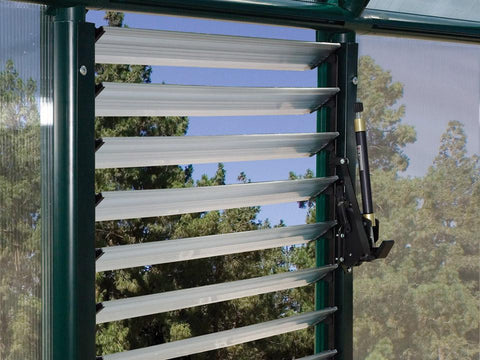 Installed Automatic Louver Window Opener for Palram and Rion Greenhouses with open vents