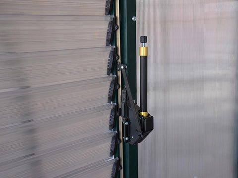 Image of Installed Automatic Louver Window Opener for Palram and Rion Greenhouses - close up